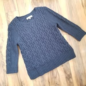 Loft Navy Blue Cable knit crew sweater woo…